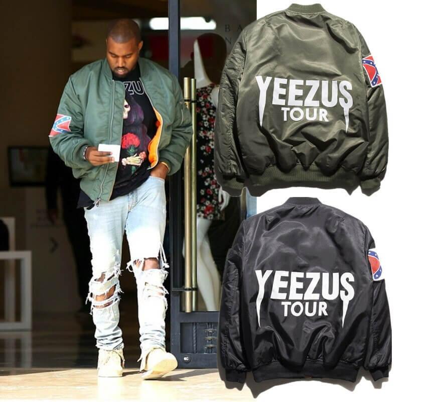 ao khoac bomber mot lan nua tro thanh trao luu toan cau khi duoc Kanye West cho ra chiec ao bomber MA-1 trong chuyen luu dien cua minh