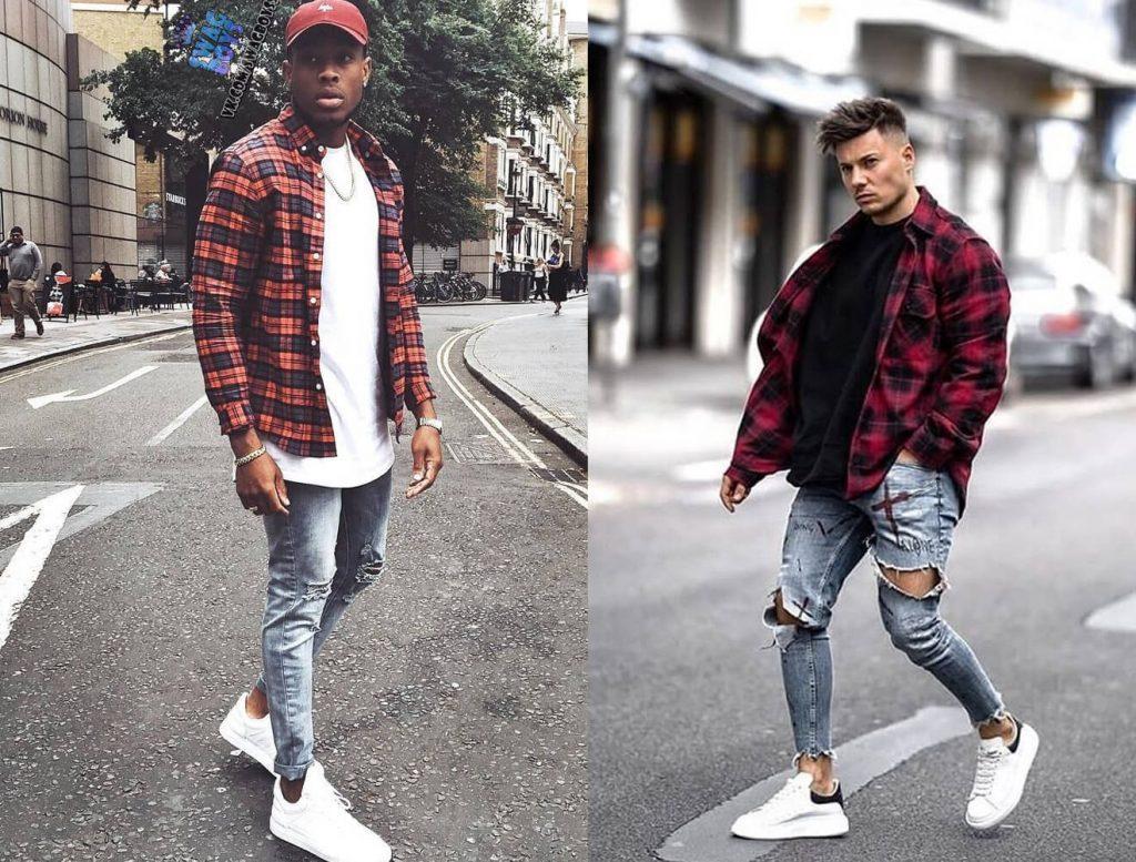 ao flannel do den va quan jeans rach voi ao thun tron