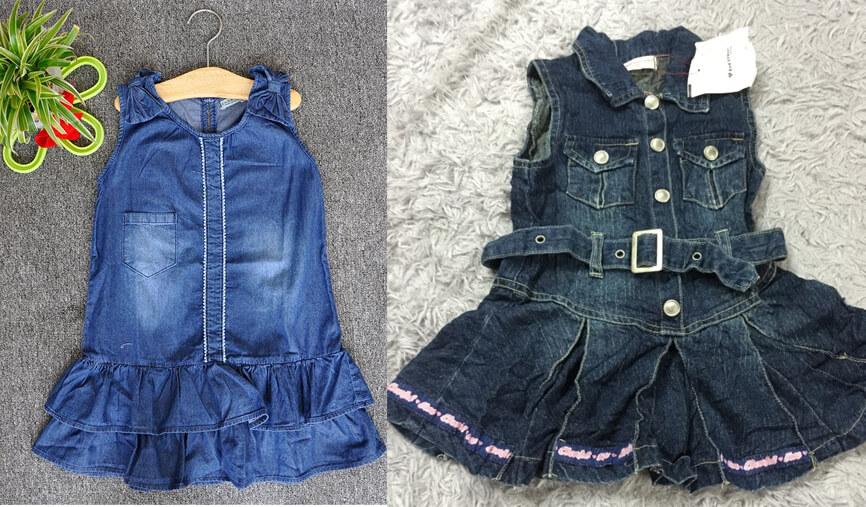 Đầm jeans cho bé gái | Kiện mix quần áo jeans trẻ em